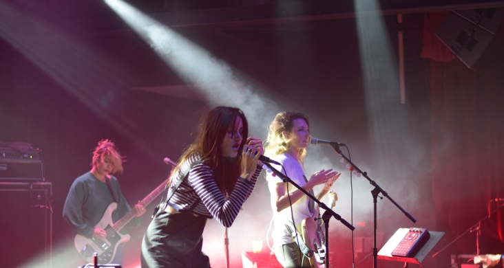 Pictured left to right: Jenny Lee Lindberg, Theresa Wayman, and Emily Kokal from the band Warpaint during the kick off to their most recent tour at Terminal West (Atlanta).