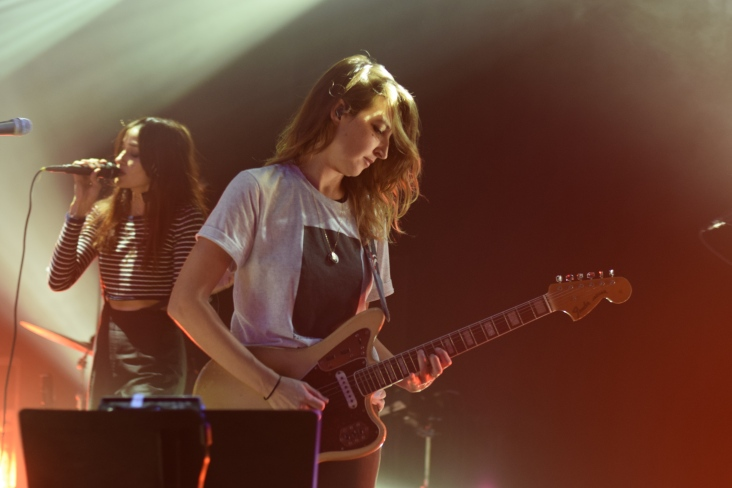 Pictured left to right: Theresa Wayman and Emily Kokal from the band Warpaint during their recent show at Terminal West in Atlanta.