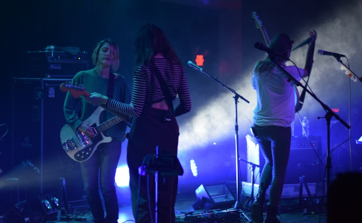 Pictured left to right: Jenny Lee Lindberg, Theresa Wayman, and Emily Kokal from the band Warpaint.